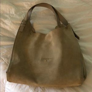 Patrizia Pepe tan suede hobo bag